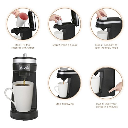 Aicok Single Serve Coffee Maker, Coffee Machine with 12OZ Water Tank, for Most Single Cup Pods including K-Cup Pods, Quick Brew Technology Travel One Cup Coffee Brewer by AICOK (Image #2)