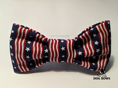 Patriotic dog bow - Memorial Day Dog Bow Tie - 4th of July Dog Bow Tie - Red White and Blue Dog Bow - Mila Stella Dog Bow - Cotton dog bow - Dog Collar Bow - Handmade in USA