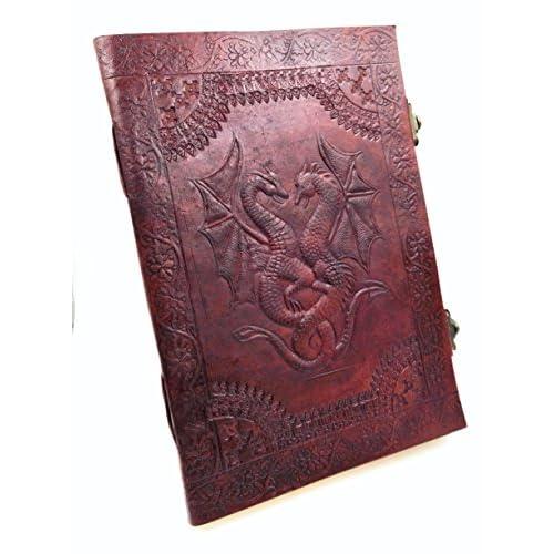 scrapbook journal livre 18Cm * 25Cm cahier /à dessin ou de croquis Double Dragon Carnet livre dor Cuir V/éritable Vintage grimoire album Chic /& zen bloc notes