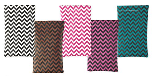2 Pack Soft Squeeze Top Slip In Eyeglasses Case And Holder, Chevron Design, Turquoise/Black