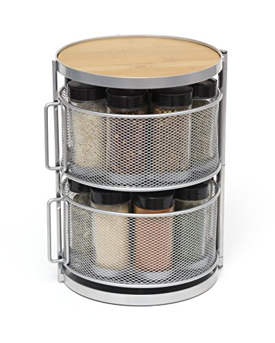 Lipper International 2-Tier Metal and Bamboo 18-Bottle Round Spice Tower, Filled, Brown/Grey