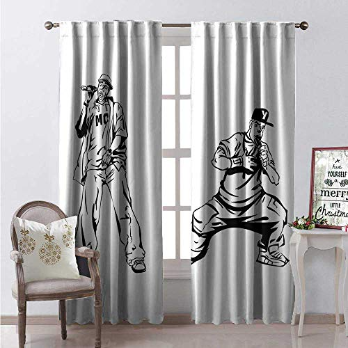 (Hengshu Rapper Window Curtain Drape Youth Rappers Singing Music Hip Hop Culture Freestyle Performance Illustration Customized Curtains W84 x L108 Black White)