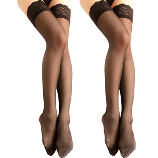 daddaead7 Charmnight Women s Sheer Thigh High Stockings Lace Top Reinforced Toe  2-Pack(Black)