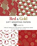 Red and Gold Gift Wrapping Papers: 12 Sheets of High-Quality 18 x 24 inch Wrapping Paper