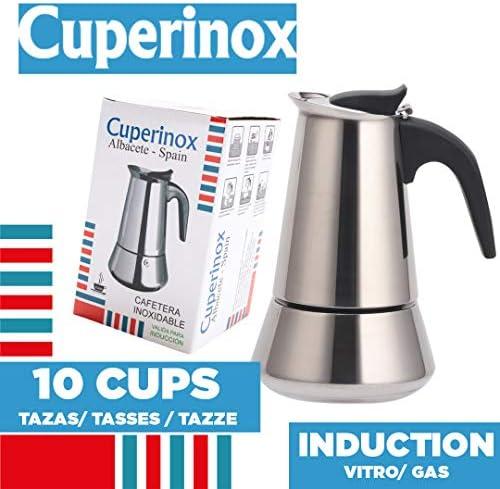 CUPERINOX Cafetera italiana inducción | 10 tazas | cafetera ...