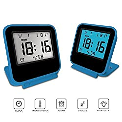 FlatLED Travel Alarm Clock, LCD Ultra-thin Clamshell 12/24 Hour with Temperature Date Week Repeating Snooze LCD Digital Screen Alarm Clock Blue