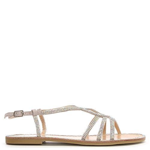 65ceb0ea8 DF By Daniel Kloss Silver Twist Strap Diamante Sandal 36 Silver Metalic