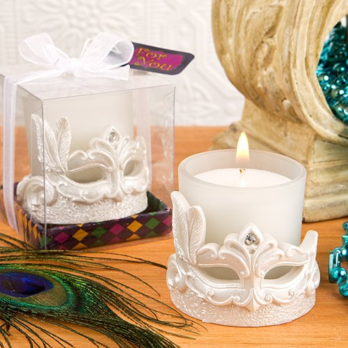 Mardi Gras Masked Theme Candle Votive , (Mardi Gras Center Pieces)