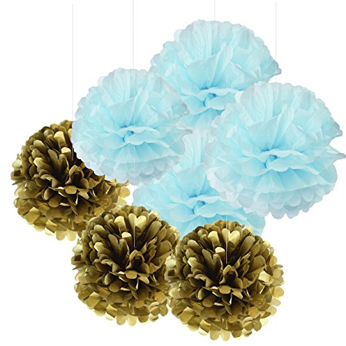 Baby Shower Boy Decorations Furuix 8pcs Blue Mixed Gold Tissue Paper Pom Pom Tissue Paper PomPoms Flower Ball Home Wedding Party Table Hanging Paper Decor Boy First Birthday Decor