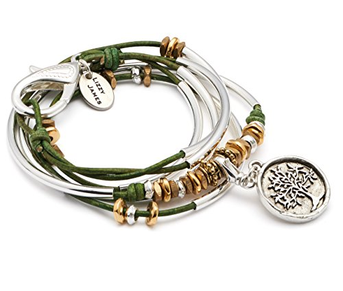 Trixy Silverplated 2 Strand Natural Forest Green Leather Wrap Bracelet with Silver Tree of Life Charm (Small (5 7/8