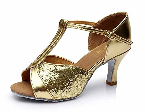 YFF Die Mädchen Frauen Ballroom Tango Salsa Latin Dance Schuhe, 5 cm Absatz Gold, 5,5