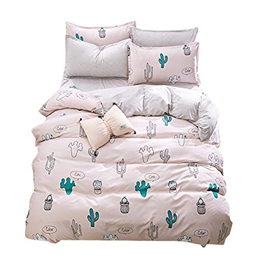 Bonsai Cactus, Pink Full 70 x86  KFZ Bed Set Beddingset Duvet Cover No Comforter Flat Sheet Pillow Case MJ1808 Twin Full Queen King Sheets Set Pineapple Mushroom Cactus Designs for Kids (Sweet Pineapple, Black, King 86 x94 )