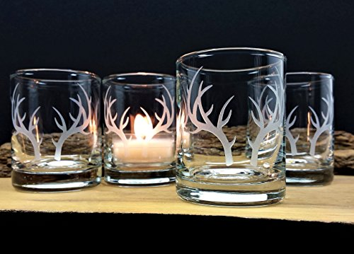 Antler Engraved Glass Votive Holders Set of Four Clear Candle Holders