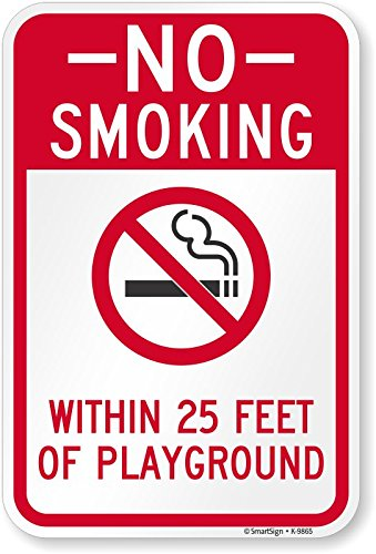 SmartSign by Lyle K-9865-EG-12x18 No Smoking - Within 25' of Playground Reflective (Playground Safety Signs)