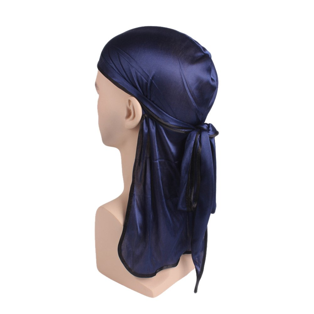 HADM Silky Durag Headwraps Doo Rags with Extra Long Tail and Wide Straps for 360 Waves