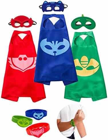 Daliac Masks Costumes 3 Masks Capes and Bracelets Catboy Owlette Gekko for Kids