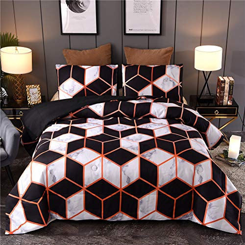 Marble Geometry Pattern Bedding Set, Artwork Abstract for Men Women Comforter Sets, Queen Size with 2 Pillow Cases (Ladies Comforter Set)