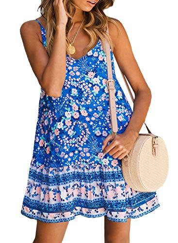 (Asvivid Womens Boho Flower Print Ruffle Spaghettic Strap V-Neck Holiday Swing A-Line Beach Dress Plus Size 1X Floral4)