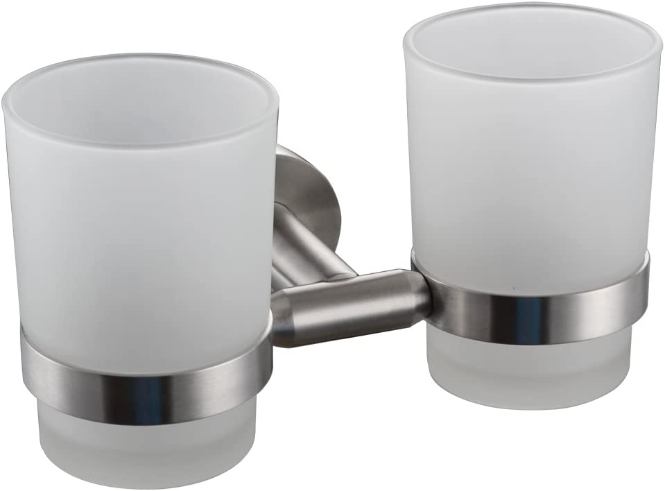 Wall-mounted Toothbrush Holder Double Holder, Brushed Nickel G1005