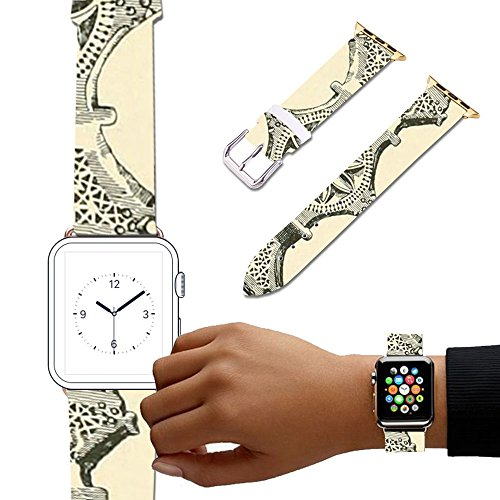 (For Apple Watch, Natural color Floral Printed Leather Watch Band 38mm 42mm Strap for Apple Watch 3, 2, 1 Flower Design Wrist Watch iwatch Bracelet-106.Etruscan)