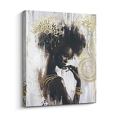 Pi Art African American Black Art Canvas Art, Gold Wall Decor Framed Wall Art for Living Room and Bedroom (16x20 inch, A)