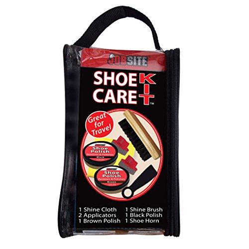 JobSite Shoe Care Shine Kit -Travel Bag -Shine Brush, Shoe Polish, Polish Sponges, Shoe Horn, Shine Cloth