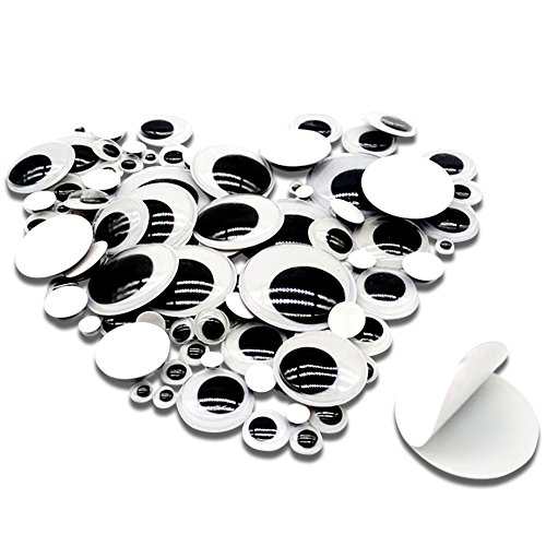 TOAOB 100 Pieces Wiggle Googly Eyes with Self-Adhesive Black 6mm to 35mm Round Mixed Size DIY Scrapbooking -