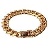 FANS JEWELRY Men's Gold Plated Heavy Stainless Steel Cut Hip Hop Cuban Link Bracelet 15mm 7-11 inch(7 inches)