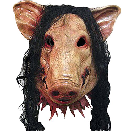Qoollar Halloween Party Latex Scary Cosplay Pig Full Head Mask Long Hair (Pig Mask Costumes)