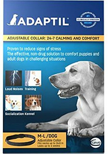 Adaptil On The Go Dap ( Dog Appeasing Pheromone ) Odorless Adjustable Calming Collar for Medium and Large Dogs Size (24.6''), Fits for all Breeds By Ceva by Adaptil