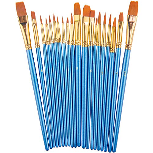 Paint Brush Set by heartybay, 20 pcs Nylon Hair Brushes for Acrylic Oil Watercolor Painting Artist Professional Painting Kits