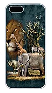 IPhone 5/5S Case African Elephant Sunset HAC1014004 PC Hard Plastic Case for iPhone 5/5S Whtie
