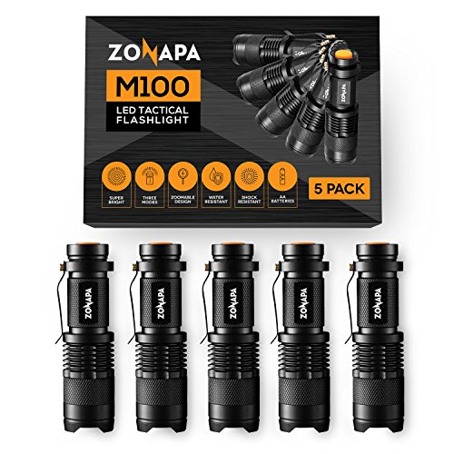 ZONAPA LED Mini Flashlights (5-Pack) Tactical, Compact, Portable | Ultra-Bright Lighting | Indoor and Outdoor Use | Emergency, Camping, Travel, -