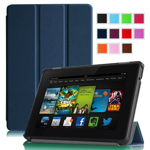 """Fintie Amazon Kindle Fire HD 7"""" (2013 Old Model) SmartShell Case Cover Ultra Slim Lightweight with Auto Sleep / Wake Feature (will only fit Amazon Kindle Fire HD 7, Previous Generation - 3rd) - Navy"""