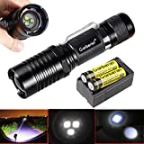 Garberiel 18650 Flashlight Small 3xT6 LED Flashlight 3000 Lumens Super Bright 5 Modes Waterproof Adjust Focus Flashlight Torch with 18650 Battery and Charger
