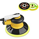 Professional Air Random Orbital Palm Sander, Dual Action Pneumatic Sander, Low Vibration, Heavy Duty … (6-inch Yellow)