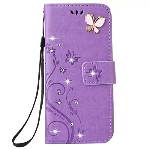 Price comparison product image Auroralove iPhone 6/6s Luxury Handmade Bling Rhinestone Soft Slim Flip Stand Wallet Case for iPhone 6/6s 4.7 Flower Butterfly PU Leather Case for Girls Women-Purple