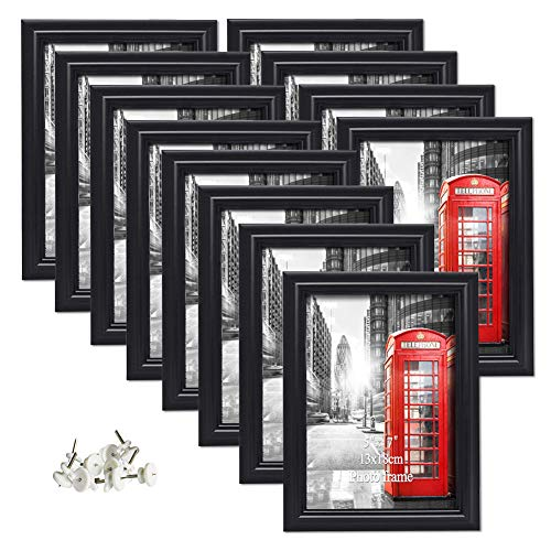 Artsay 5x7 Picture Frames Black Photo Frame Set, Wall Hanging and Tabletop, 12 Pack