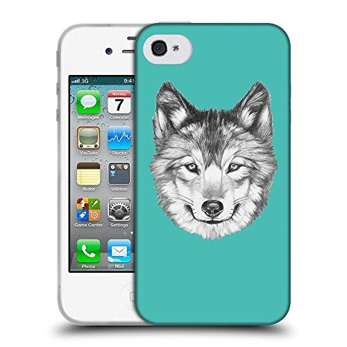 GoGoMobile Coque de Protection TPU Silicone Case pour // Q05430634 Portrait loup Turquoise // Apple iPhone 4 4S 4G
