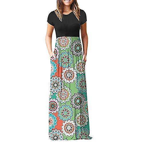 Maggie Bridal Sottero (TnaIolral HOT! Women Dress Summer Sleeve O-Neck Print Maxi Tank Long Skirt (S, Green))