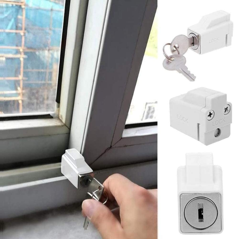 CHDHALTD Aluminum Alloy Window Lock, Sliding Window Security Locks,Window Door Frame Security Locks with 2 Keys, Anti Theft Children Door Frame Stop Bars for Home and Office Child Safety