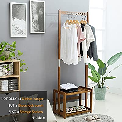 NNEWVANTE Coat Rack Bench Shoes Rack Hallway Hall Tree Organizer 2 Tiers Shelves Storage Rack Entryway Walnut Color - Humanized design:Three holes and a track can meet the clothing, scarves, tie, place the hat and the bag can be hung on both sides of the top. Two-tier grid design of the plate, so the shelf is more flexible, can reduce the sense of bulky, and not only can place items and shoes, you can also sit down changing shoes, the maximum weight of 80Kg. Made of natural bamboo, polished smooth surface, smooth corner to avoid scratches, environmental non-toxic, easy to clean, mildew pest control. Present a gift, we'd better give the best quality one, even at package. - hall-trees, entryway-furniture-decor, entryway-laundry-room - 517V7m9maWL. SS400  -