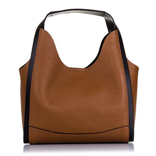 FIRENZE ARTEGIANI.Bolso shopping bag de mujer piel auténtica.Bolso mujer cuero genuino.Tacto suave acabdo lujo.Asa diseño exclusivo. MADE IN ITALY. VERA PELLE ITALIANA. 33x24x15 cm. Color: CUERO