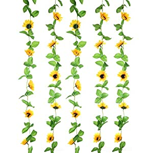 UUPP 2Pcs 8.5FT Artificial Sunflower Garland Silk Fake Flower Ivy Vines for Home Hotel Office Garden Wedding Party Outside Decoration 20