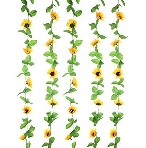 UUPP 2Pcs 8.5FT Artificial Sunflower Garland Silk Fake Flower Ivy Vines for Home Hotel Office Garden Wedding Party Outside -