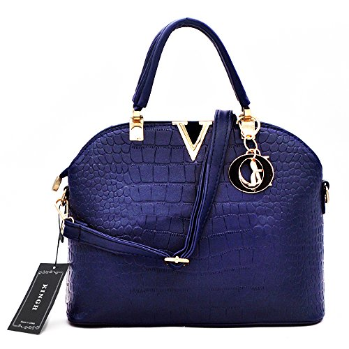 Women Handbag,Women Bag, KINGH Vintage PU Leather Bag Crocodile Pattern Shell Bag 149 Deep Blue