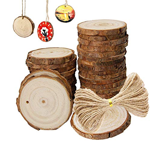 Natural Wood Ornament Slices with Holes, 30 pcs 2.4-2.8 inch Wood Template for Crafts by -
