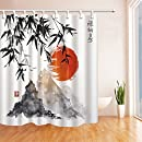 NYMB Japanese Bamboo Trees Sun and Mountains Bath Curtain, Polyester Fabric Waterproof Shower Curtains, 69X70 in, Shower Curtain Hooks Included, Red(Multi4)