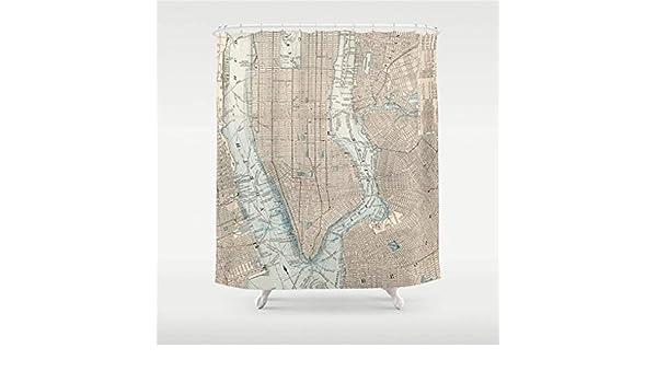 NJIASGFUI 1893 - Cortina de Ducha (152,4 x 182,8 cm), diseño de Mapa de Nueva York: Amazon.es: Hogar