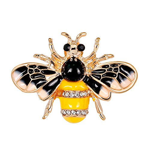 Afco Bee Shape Rhinestone Insect Brooch Pin Women Scarf Dress Hat Jewelry Accessory Party Decor